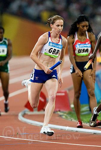 23 AUG 2008 - BEIJING, CHN - Nicola Sanders (GBR) - Women's 4x400m Relay final -  Beijing Olympics. (PHOTO (C) NIGEL FARROW) *** IOC RULES APPLY ON USAGE ***
