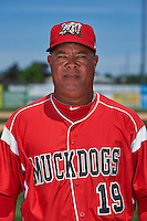 Batavia Muckdogs hitting coach Luis Quinones (19) poses for a photo before the teams first practice on June 15, 2016 at Dwyer Stadium in Batavia, New York.  (Mike Janes/Four Seam Images)