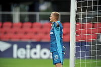 WASHINGTON, DC - JULY 7: Jon Kempin #21 of D.C. United organizes the defense during a game between Liga Deportiva Alajuense  and D.C. United at Audi Field on July 7, 2021 in Washington, DC.