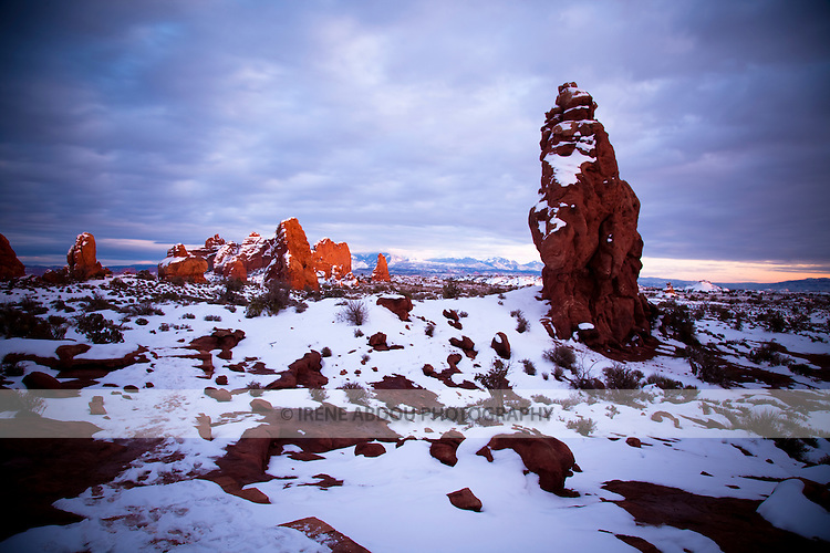 Over many years, the forces of erosion have created fantabulous shapes of rock.  Many such arches, pinnacles, and spires can be viewed at Arches National Park, near Moab, Utah.  The rocks in this photo are found in the Windows section of the park.