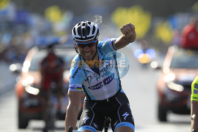Tom Boonen (BEL) Omega Pharma-Quickstep wins the 96th edition of The Tour of Flanders 2012 , running 256.9km from Bruges to Oudenaarde, Belgium. 1st April 2012. <br /> (Photo by Eoin Clarke/NEWSFILE).