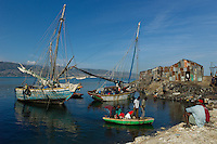 Port au Prince, Haiti, April 15, 2010.Port Jérémie is a small wharf near downtown where sail ferries are unloaded of the charcoal and salt coming from the provinces, and reloaded with imported rice, flour and sugar, due to the collapse of the Haitian economy.