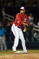 Washington Nationals pitcher T.J. McFarland (47) during a Major League Spring Training game against the Miami Marlins on March 20, 2021 at FITTEAM Ballpark of the Palm Beaches in Palm Beach, Florida.  (Mike Janes/Four Seam Images)