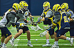 Michigan's newly formed Varsity NCAA Division I men's lacrosse team practices Tuesday, Sep. 27, 2011 in Ann Arbor, Mich. (Photo by Tony Ding)