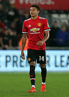 Goal scorer Jesse Lingard of Manchester United walks off the pitch after the Carabao Cup Fourth Round match between Swansea City and Manchester United at The Liberty Stadium, Swansea, Wales, UK. Tuesday 24 October 2017