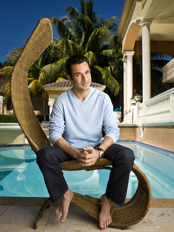 """Helio Castronevis, Indianapolios 500 champion and """"Dancing With the Stars"""" winner, photographed at his Coral Gables, Florida home on May 13, 2008 for Parade Magazine"""