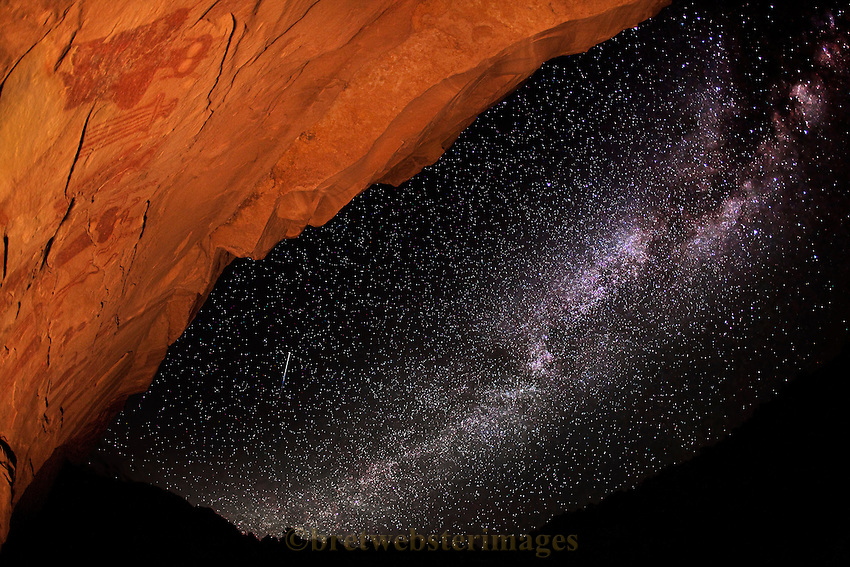 The deeply old Archaic Panel of Sego Canyon watches the Milky Way drift along as a small shooting star flits by.