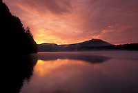 AJ4547, sunrise, sunset, Vermont, The beautiful orange sky reflects in the calm waters of Molly Falls Pond at sunrise in Marshfield in Washington County in the state of Vermont.