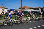 The peloton including race leader Maglia Rosa Joao Almeida (POR) Deceuninck-Quick Step race the Giro train during Stage 11 of the 103rd edition of the Giro d'Italia 2020 running 182km from Porto Sant'Elpidio to Rimini, Italy. 14th October 2020.  <br /> Picture: LaPresse/Fabio Ferrari | Cyclefile<br /> <br /> All photos usage must carry mandatory copyright credit (© Cyclefile | LaPresse/Fabio Ferrari)