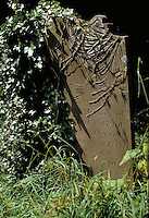 Halloween. A creepy, scary tombstone in an English churchyard is decorated with bony skeleton hands. Salisbury, England.