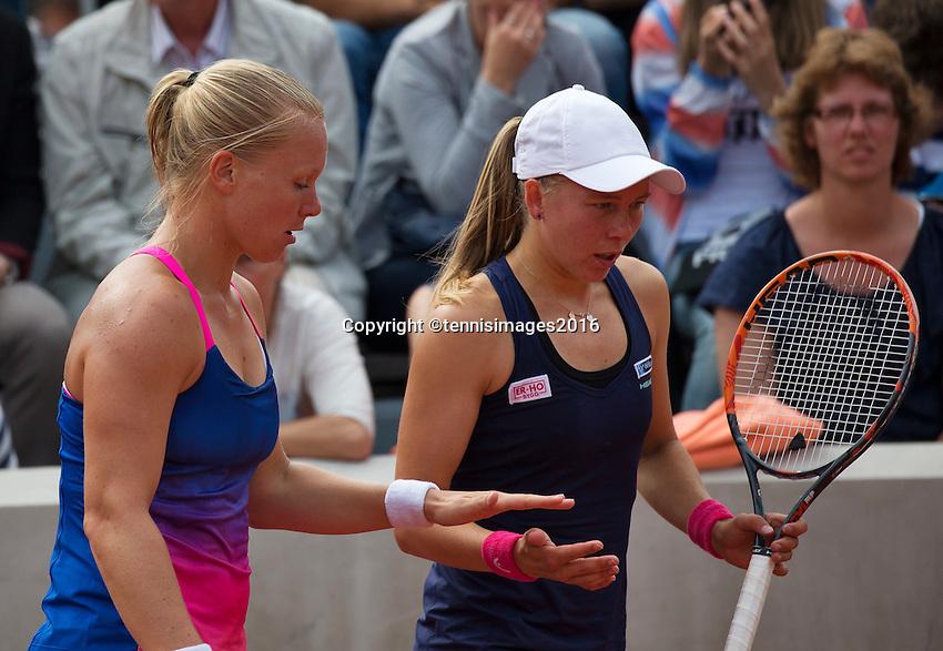 Paris, France, 26 June, 2016, Tennis, Roland Garros, Doubles:  Kiki Bertens (NED) (L) and her partner Johanna Larsson <br /> Photo: Henk Koster/tennisimages.com