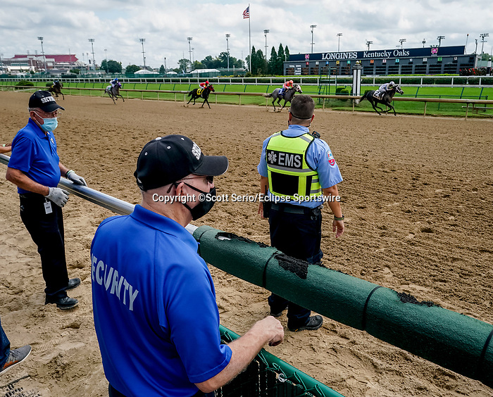 September 1, 2020: Face coverings were the norm for  opening day of Kentucky Derby Week at Churchill Downs in Louisville, Kentucky. Scott Serio/Eclipse Sportswire/CSM