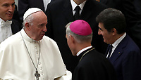 Pope Francis (l) speaks with Urbano Cairo, Italian businessman and President of Torino FC, at the end of an audience with managers and members of the italian Football Federation (FIGC) and Gazzetta dello Sport newspaper, in Paul VI Hall at the Vatican, on May 24, 2019.<br /> UPDATE IMAGES PRESS/Isabella Bonotto<br /> <br /> STRICTLY ONLY FOR EDITORIAL USE