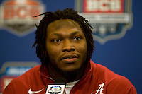 Alabama linebacker Courtney Upshaw talks with the reporters during BCS Championship Alabama Defensive Press Conference at Marriott Hotel at the Convention Center in New Orleans, Louisiana on January 7th, 2012.