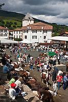 Europe/France/Aquitaine/64/Pyrénées-Atlantiques/Pays-Basque/Sare: Lors du  Concours De Pottok et l' église Saint-Martin