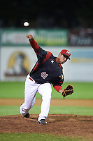 Batavia Muckdogs relief pitcher Jose Diaz (41) during a game against the Staten Island Yankees on August 27, 2016 at Dwyer Stadium in Batavia, New York.  Staten Island defeated Batavia 13-10 in eleven innings. (Mike Janes/Four Seam Images)