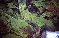 Nualolo Aina Valley, Na Pali Coast State Park, west Kauai, aerial photo. Ancient taro patch stone walls visible.