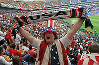 USA National Soccer Team fan Mike Listort of Washington D.C. holds a scarf while cheer on the team  before their FIFA World Cup First round match against the Czech Republic on Monday June 12th, 2006 in Gelsenkirchen, Germany.  The United States lost the match 3-0.