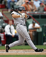 Seattle Mariners C Jeff Clement swings against the Texas Rangers on May 14th, 2008 at Texas Rangers Ball Park. Photo by Andrew Woolley / Four Seam Images.