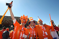 Holland fans outside the Soccer City stadium before the game against Denmark.