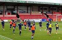 Blackpool players go through their pre-match warm-ups <br /> <br /> Photographer Rich Linley/CameraSport<br /> <br /> The EFL Sky Bet League One - Crewe Alexandra v Blackpool - Saturday 17th October 2020 - Gresty Road - Crewe<br /> <br /> World Copyright © 2020 CameraSport. All rights reserved. 43 Linden Ave. Countesthorpe. Leicester. England. LE8 5PG - Tel: +44 (0) 116 277 4147 - admin@camerasport.com - www.camerasport.com