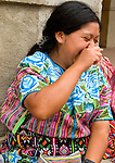 Portrait of Guatemalan woman laughing in Zunil, Guatemala,  in the Western Highlands