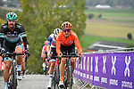 Daniel Oss (ITA) Bora-Hansgrohe and Matteo Trentin (ITA) CCC Team on the final ascent of the Paterberg during the Tour of Flanders 2020 running 244km from Antwerp to Oudenaarde, Belgium. 18th October 2020.  <br /> Picture: Serge Waldbillig   Cyclefile<br /> <br /> All photos usage must carry mandatory copyright credit (© Cyclefile   Serge Waldbillig)