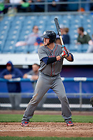 Lehigh Valley IronPigs catcher Logan Moore (35) at bat during a game against the Syracuse Chiefs on May 20, 2018 at NBT Bank Stadium in Syracuse, New York.  Lehigh Valley defeated Syracuse 5-2.  (Mike Janes/Four Seam Images)