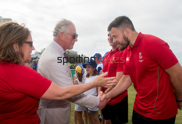 HRH Prince Charles meets Adam Thomas, Rugby 7's, <br /> <br /> *This image must be credited to Ian Cook Sportingwales and can only be used in conjunction with this event only*<br /> <br /> 21st Commonwealth Games  -  Day 1- 05\04\2018 - Kurrawa Surf Club - Gold Coast City - Australia