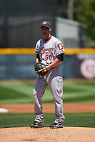 Altoona Curve starting pitcher Ryan Vogelsong (50), on rehab assignment from the Pittsburgh Pirates, gets ready to deliver a warmup pitch during a game against the Erie SeaWolves on July 10, 2016 at Jerry Uht Park in Erie, Pennsylvania.  Altoona defeated Erie 7-3.  (Mike Janes/Four Seam Images)
