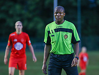 Match referee Franck Tanko pictured during a female soccer game between FC Femina White Star Woluwe and Dames Zulte Waregem  on the first matchday of the 2020 - 2021 season of Belgian Women's SuperLeague , Friday 28 of August 2020  in Sint Lambrechts Woluwe , Belgium . PHOTO SPORTPIX.BE | SPP | SEVIL OKTEM