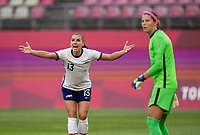 KASHIMA, JAPAN - AUGUST 2: Alex Morgan #13 of the USWNT yells to the referee during a game between Canada and USWNT at Kashima Soccer Stadium on August 2, 2021 in Kashima, Japan.