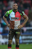 Ugo Monye of Harlequins watches the large screen to see if George Lowe of Harlequins' try will be awarded during the Heineken Cup match between Harlequins and Connacht Rugby at The Twickenham Stoop on Saturday 12th January 2013 (Photo by Rob Munro).