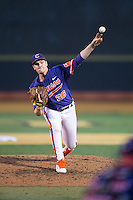 Clemson Tigers relief pitcher Pat Krall (36) delivers a pitch to the plate against the Wake Forest Demon Deacons at David F. Couch Ballpark on March 12, 2016 in Winston-Salem, North Carolina.  The Tigers defeated the Demon Deacons 6-5.  (Brian Westerholt/Four Seam Images)