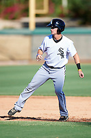 Chicago White Sox minor league infielder Jake Brown #15 during an instructional league game against the Los Angeles Dodgers at the Camelback Training Complex on October 9, 2012 in Glendale, Arizona.  (Mike Janes/Four Seam Images)