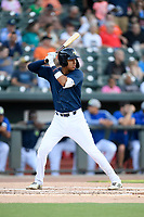 Third baseman Mark Vientos (13) of the Columbia Fireflies bats in a game against the Lexington Legends on Friday, May 3, 2019, at Segra Park in Columbia, South Carolina. Lexington won, 5-2. (Tom Priddy/Four Seam Images)