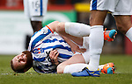 Mark Connolly in agony as his crown jewels are used to protect the Killie goal from a rocket shot from a rock hard football