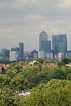 London skyline Canary Wharf commerical centre east London. UK