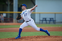 Burlington Royals starting pitcher Daniel Tillo (27) in action against the Danville Braves at Burlington Athletic Stadium on August 15, 2017 in Burlington, North Carolina.  The Royals defeated the Braves 6-2.  (Brian Westerholt/Four Seam Images)