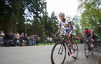 Pieter Jacobs (BEL/Topsport Vlaanderen-Baloise) in the lead of the race up the Côte de Wanne<br /> <br /> Liège-Bastogne-Liège 2014