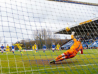 18th April 2021; Stair Park, Stranraer, Dumfries, Scotland; Scottish Cup Football, Stranraer versus Hibernian; Martin Boyle of Hibernian scores their fourth goal from the Penalty spot past keeper Flemming of Stranraer