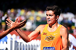 12 JUNE 2015: Chad Noelle of Oklahoma State celebrates after to winning the Men's 1500 meters  during the Division I Men's and Women's Outdoor Track & Field Championship held at Hayward Field in Eugene, OR.    Noelle won the NCAA Championship in a time of 3:54.96. Steve Dykes/ NCAA Photos
