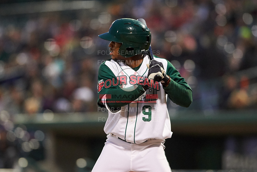 Fort Wayne TinCaps Xavier Edwards (9) at bat during a Midwest League game against the Quad Cities River Bandits at Parkview Field on May 3, 2019 in Fort Wayne, Indiana. Quad Cities defeated Fort Wayne 4-3. (Zachary Lucy/Four Seam Images)