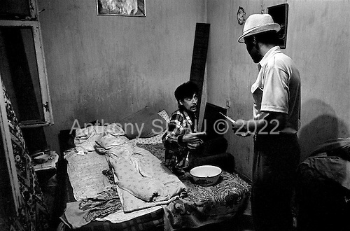 Osh, Krygystan.1996.Anti-drug police find a syringe at the home of a known opium junkie. The junkie claims that he uses it for health reasons. The spread of opium usage is Osh began at the demise of the former Soviet union.