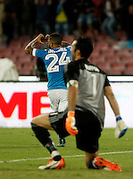 Calcio, Serie A: Napoli vs Juventus. Napoli, stadio San Paolo, 26 settembre 2015. <br /> Napoli's Lorenzo Insigne, left, celebrates after scoring as Juventus' goalkeeper Gianluigi Buffon reacts during the Italian Serie A football match between Napoli and Juventus at Naple's San Paolo stadium, 26 September 2015.<br /> UPDATE IMAGES PRESS/Isabella Bonotto