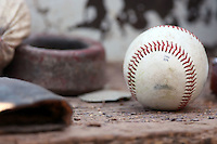 September 2 2008: A ball rests on the dugout step during a game at Frontier Field in Rochester, NY.  Photo by:  Mike Janes/Four Seam Images