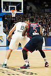 Real Madrid´s player Maciulis and Bayern Munich´s player Rivers during the 4th match of the Turkish Airlines Euroleague at Barclaycard Center in Madrid, Spain, November 05, 2015. <br /> (ALTERPHOTOS/BorjaB.Hojas)