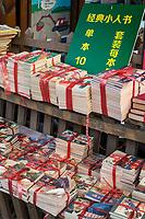 Yangzhou, Jiangsu, China.  Paperback Books for Sale at a Sidewalk Book Stand.