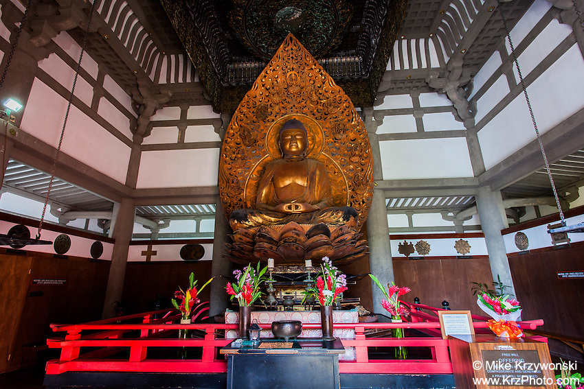 Lotus Buddha inside the Byodo-In Temple at the Valley of the Temples Memorial Park, Kaneohe, Oahu, Hawaii