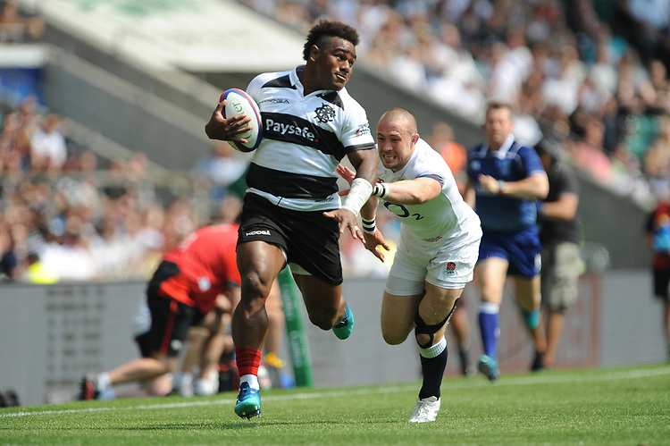 Josua Tuisova (Toulon & Fiji) of Barbarians leaves Mike Brown of England in his wake during the Quilter Cup match between England and Barbarians at Twickenham Stadium on Sunday 27th May 2018 (Photo by Rob Munro/Stewart Communications)